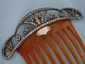 Stunning Silver, Paste and Horn Hair Comb - Early 20th Century  (SOLD)